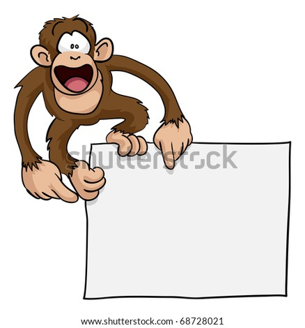 A crazy cute excited monkey pointing at a blank sign with copy-space illustration