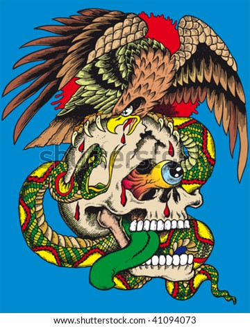 a crazy illustration of a skull with a snake and an eagle Stock photo ©