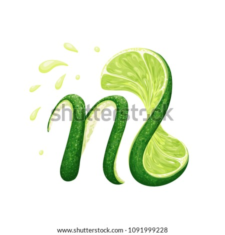 a creative monogram logo with a lime peel in form of a letter N and a twisted lime slice shaped as an L, with juice splashes; vector illustration; logo/icon/label template or other design element Foto stock ©