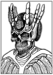 A creepy, scary, bony skull of a Dark Lord with a crown and a large stone in his head with six long horns and a grin on his face. 2D illustration, line art.