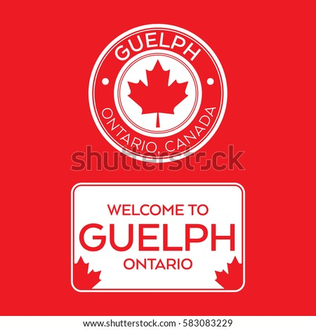 A crest and a welcome sign for Guelph, Ontario, Canada that features maple leaves.