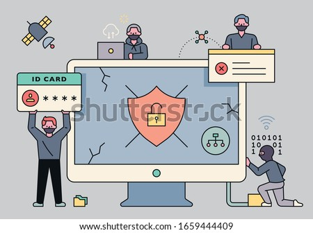 A criminal character hacking online personal information is around a giant monitor. flat design style minimal vector illustration.