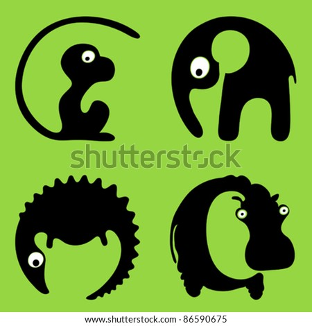 A crocodile a hippo a monkey an elephant. Inscribing in a circle wild animals round signs
