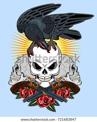 a crow sitting on a human skull