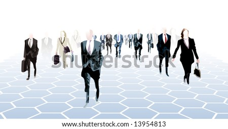 a crowd of business people