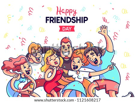 A crowd of people celebrates, has fun, dances. Youth way of life. Happy young boys and girls at a party. They celebrate the day of friendship. Colorful cartoon style vector.
