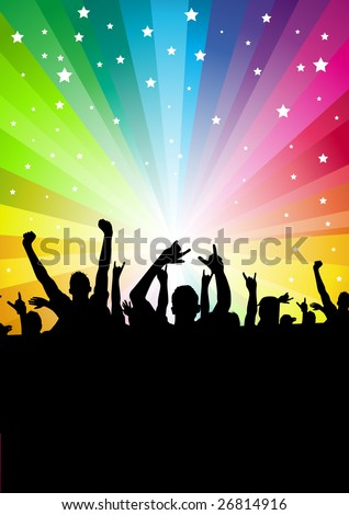 A crowd of people cheering. Vector illustration.