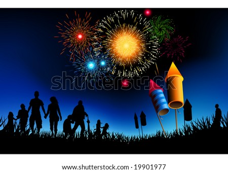 A crowd of people watching a fireworks display.
