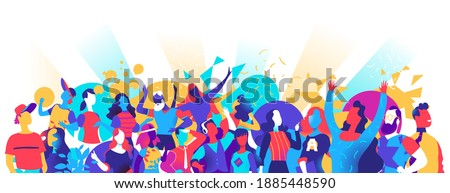 A crowd of young people dancing and enjoying a festival, party, celebration Stockfoto ©
