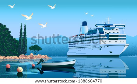 A cruise liner off the coast of the Mediterranean sea. Handmade drawing vector illustration.  Illustration of vacation and cruise.