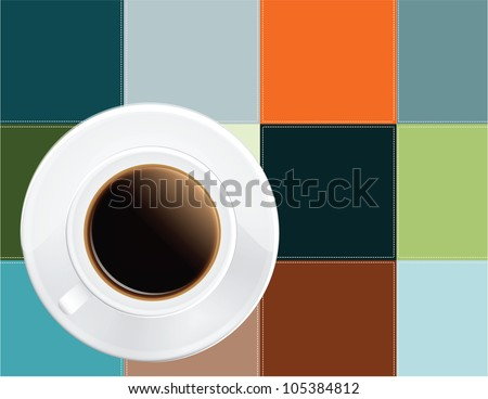 A cup of black coffee colored cloth napkin. Vector illustration.