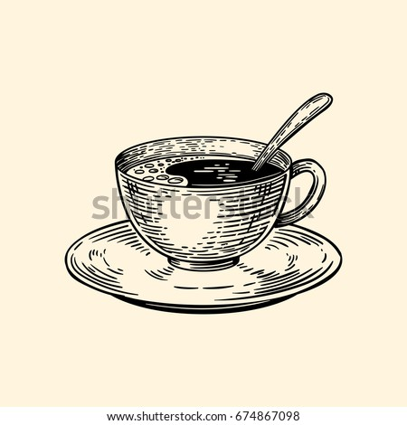 A cup of coffee on a saucer with a spoon. Vector illustration in sketch style. EPS 10.