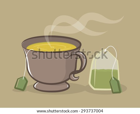 a cup of green tea and tea bag