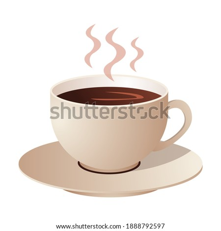 A cup of hot coffee on a saucer Stock photo ©