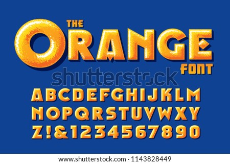 A customized orange vector alphabet with highlights and texture #1143828449
