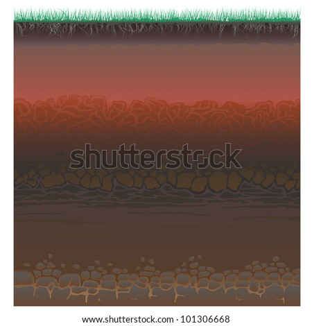 A cut of soil (profile) with a grass, roots,layers of the earth, clay and stones (Vector illustration).