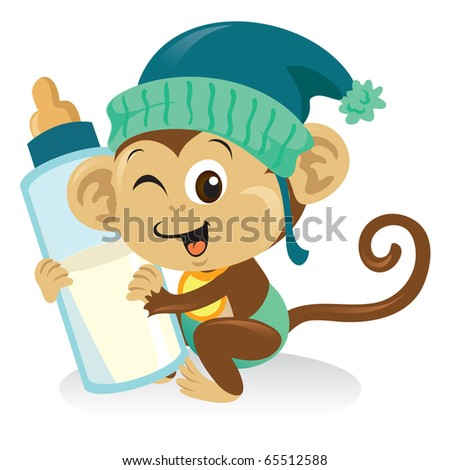 Cute Baby Images on Cute Baby Monkey Cartoon Illustration Holding A Bottle Of Milk
