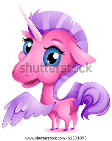 Stock Photo A Cute Baby Unicorn with an Oversized Head and Large Eyes - Vector