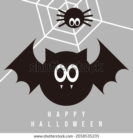 A cute bat and spider celebrating Halloween.