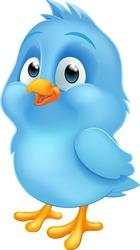 A cute bluebird blue baby bird cartoon mascot illustration