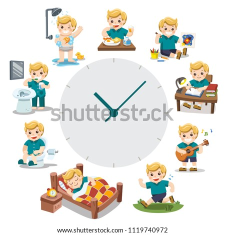 A Cute Boy in different situations. Daily routine with red simple watch. Day time. Isolated on white background.