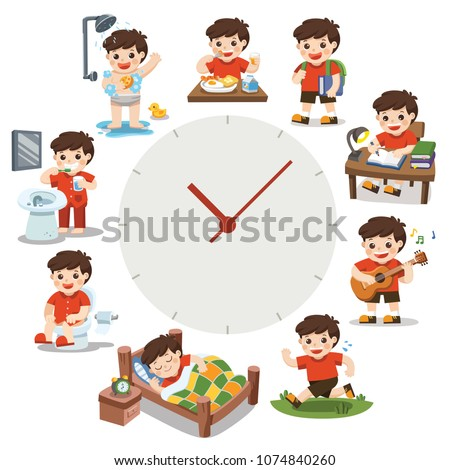 A Cute Boy in different situations. Daily routine with red simple watches. Day time. Isolated on white background.