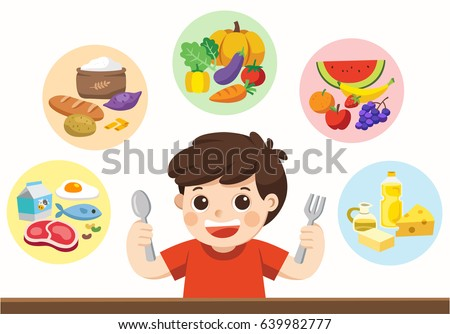 a cute boy with the five food