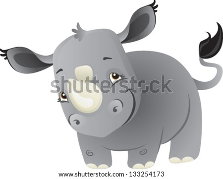 a cute cartoon baby rhino from