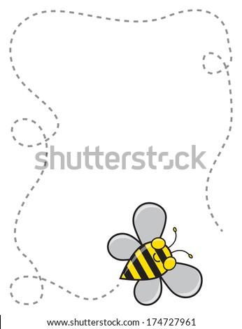 a cute cartoon bee flying