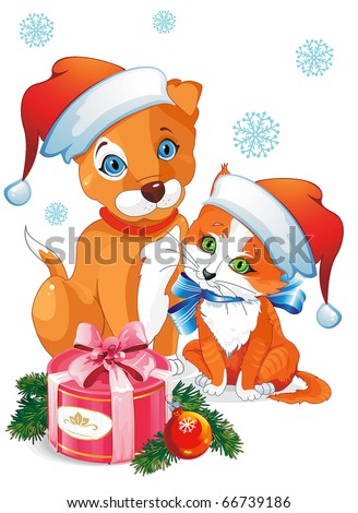 a cute cartoon dog and cat