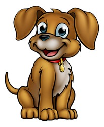 A cute cartoon dog mascot character