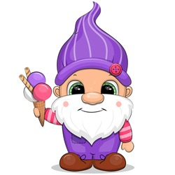 A cute cartoon gnome holding an ice cream. Vector illustration isolated on white.