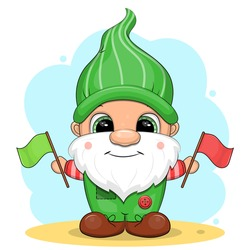 A cute cartoon gnome in green clothes is holding flags. Vector illustration on a blue background.