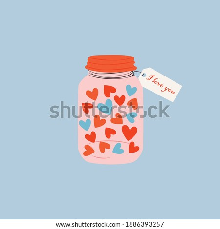 A cute cartoon jar filled with heart. Love and valentine's day concept. Hand drawn jar with a love message. Colorful trendy vector illustration for greetings, postcard, cards.  Zdjęcia stock ©