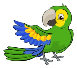 A cute cartoon parrot mascot character pointing with a wing