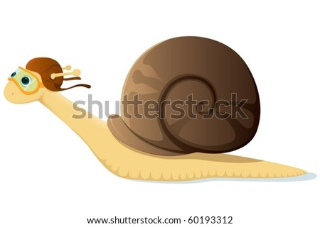 A cute cartoon snail racer over white background.