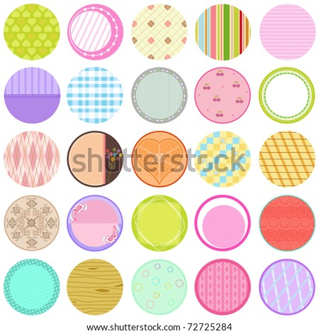 A Cute Collection of Vector Labels / Cards / Tags, pastel colors isolated on white.