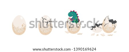 A cute dinosaur hatching from an egg and egg in different stages of crashing vector illustration isolated on white background. Birth of little prehistoric reptile item. Stockfoto ©