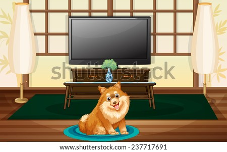 a cute dog inside the house in
