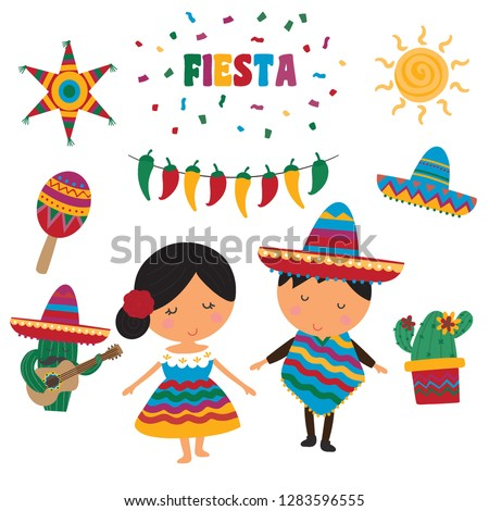 A cute fiesta vector set, colourful and fun Mexico themed illustrations, 10 images included.