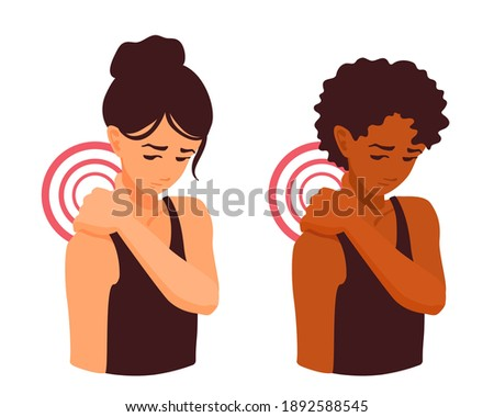 A cute girl massaging her sore neck with her hand. Neck pain. Trapezius muscle spasm. Shoulder pain. The human spine hurt. A woman touching ache neck after the workout. A vector cartoon Illustration. Stock photo ©