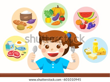 a cute girl with the five food
