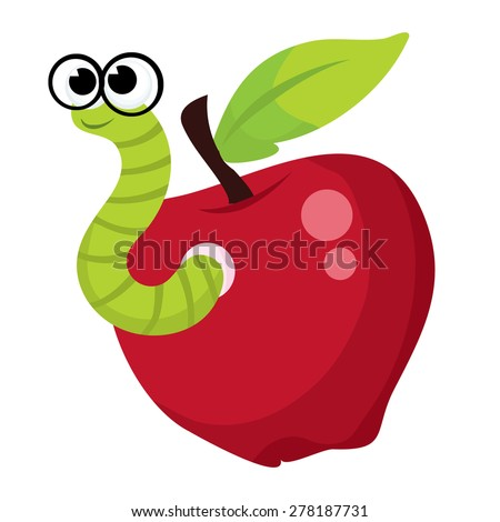 A cute green worm with glasses coming out of an apple.