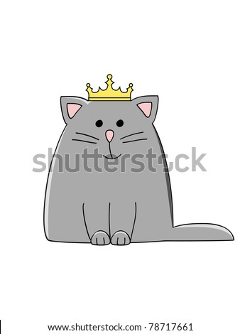 a cute grey smiling cat with a crown on his head