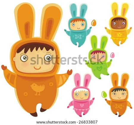 stock vector : A cute little babies dressed as an Easter Bunnies with Easter eggs
