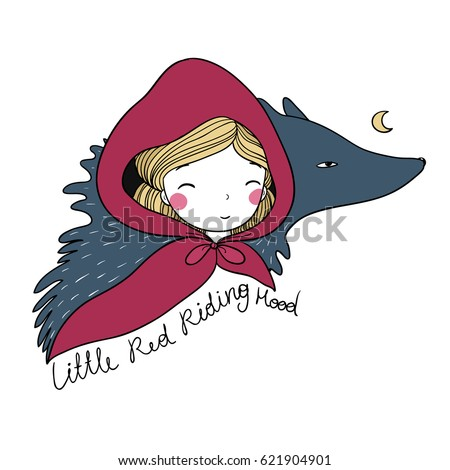 A cute little girl and a wolf. Red Riding Hood fairy tale. Hand drawing isolated objects on white background. Vector illustration.