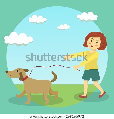 A cute little girl doing dog walking in sunny day in garden.