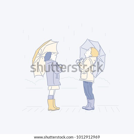 A cute little girl in the rainy day. hand drawn style vector doodle design illustrations.
