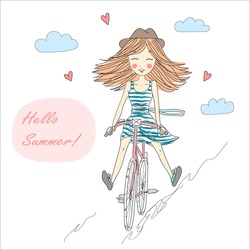 A cute little girl riding a bike on the background with the words Hello Summer.