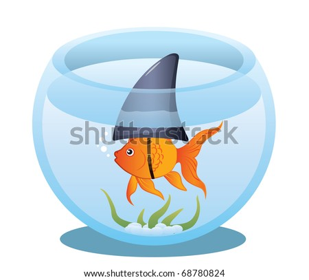A cute little goldfish in a fish bowl wearing a shark fin to scare predators away. Editable vector illustration.